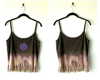 M-L~ Mandala Moon Rise Distressed & Fringed Tank Top / Tunic ~ gypsy clothing lagenlook handmade upcycled boho chic hippie wearable art