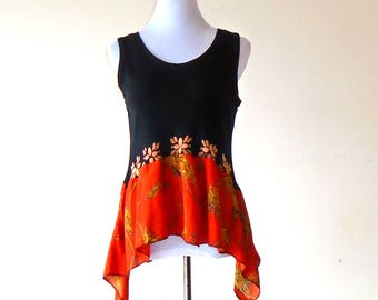 L~XL~ Golden Mandala Bleached Art Tank Top / Tunic gypsy clothing lagenlook handmade upcycled clothing boho chic hippie wearable art