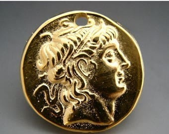 TAX SALE Naos - Alexander The Great - Mykonos Greek Pendant - Pure 24K Gold over Lead Free Pewter - 28mm