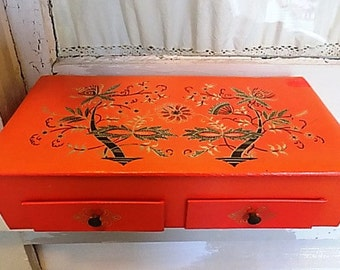 Vintage Stationary Box or Jewelry Box with Oriental Asian Design