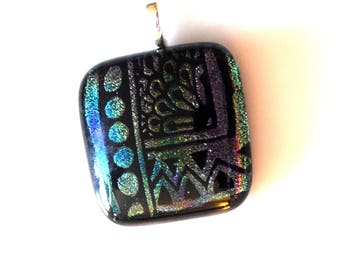 Blue and Purple Fused Dichroic Glass Pendant Necklace On Adjustable Chain