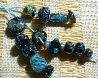 SRA Lampwork Glass Beads Handmade by Catalinaglass Designer Set in Blue