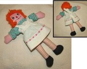 Vintage Homemade Stuffed Cloth Raggedy Ann Rag Doll, 70s, Classic collectible rag doll, cute, childs toy, striped legs
