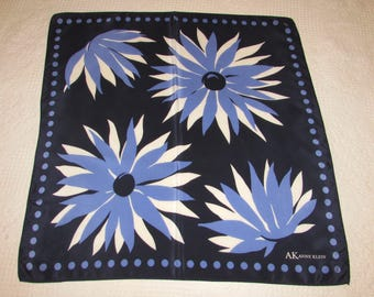 Vintage Silk AK, Anne Klein Head Neck Scarf Navy Blue with Large Blue and White Flowers