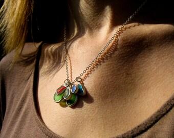 Custom Sea Glass Cluster Charm Necklace, Rainbow Jewelry, Beach Pendant, Artisan, Handmade, Dreamcat