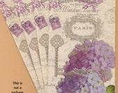 PN029 Set of 4 Paper Napkins by Fabrique ~ 4.5 x 8  Paris Collage, Purple Flowers, Hydrangeas, Antique Key