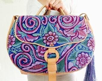Leather Overnight Bag Handbag w/ Vintage Zinacantan Textile. Adjustable Strap.  Chiapas, Mexico. Most Gorgeous!!!