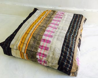 Vintage Asoke Cloth Pouf/Floor Pillow Cushion. African Textile. Cotton and Metallic