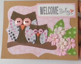 Baby Girl Card Owl Card Welcome Baby Girl Card Baby Shower Gift Baby Shower Card Greeting Card Handmade New Baby Card Owl