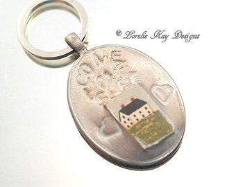Come Home Safe Salt Shaker House Mixed Media Keychain Stocking Stuffer