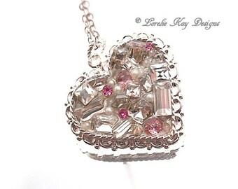 Rhinestone Heart Necklace Fine Silver Plated Elegant Heart Pendant Lorelie Kay Original