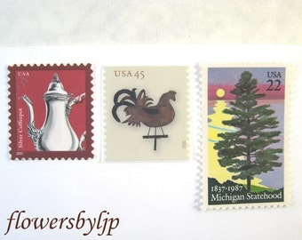 Michigan 2017 Wedding Postage Stamps, Tree by Lake Huron + Bronze Weathervane Stamp, Mail 20 Invitations 2 oz 70 cents postage stamps rustic