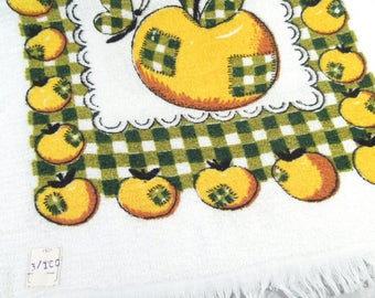 Vintage kitchen towel, yellow apple, apple towel, kitchen decor, yellow and green, green checkers, yellow fruit towel