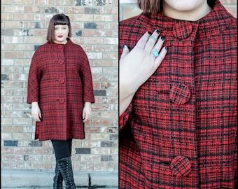 1960s, Red Plaid Coat, Size XL Coat, Red Wool Coat, Swing Coat, Womans Wool Coat, Peter Pan Collar, Red Striped Coat, Wool Plaid Coat, USA