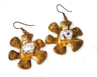Fabulous,Swarovski clear crystal cosmic stone flower casting antique brass earrings,antique brass plated