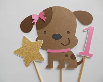 1st Birthday Puppy Dog Cake Topper or Centerpiece - Brown and Pink - Girl Birthday Party Decoration - Set of 3