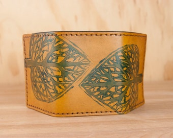 Leather Trifold Wallet - Mens or Womens Wallet in Leaf pattern in blue and antique tan - Third Anniversary Gift