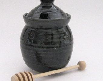 Honey Pot with Dipper - Black Glaze