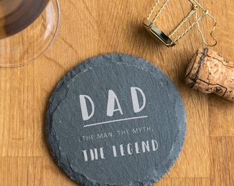 Father's Day 'The Legend' Natural Slate Coaster