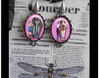 Circus dangle earrings, altered art jewelry,circus jewelry, vintage circus,elephants, lion tamers,carnival,sideshow,altered art