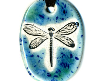 Dragonfly Ceramic Necklace in Blue Green