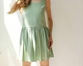 Sample SALE - sage green silk crepe dress