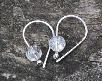Cracked crystal sterling silver open hoop earrings