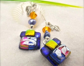 Dichroic Glass earrings, Bohemian jewelry, Fused glass jewelry, Hana Sakura, Dichroic cabochons, women's handmade, unusual earrings, ooak
