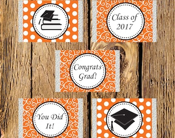 Printable Orange and White Graduation Mini Candy Bar Wrappers - Instant Download