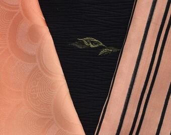 Vintage Japanese Kimono Fabric Bundle 3 Sleeve Mix Crafting - Melon Sweet
