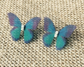 Navy Blue Teal Organza Butterfly Clear Crystals Silver Stud Earrings