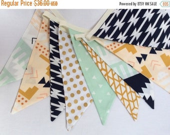 FLASH SALE 40 Percent Off Boy's Version of Our Arizona Fabric Bunting Flag Banner, Garland Bunting. Mint, Navy, Beige, Designer Fabrics, Wed