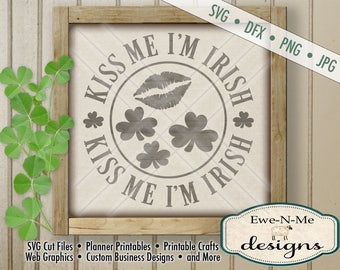 St Patricks Day svg file - St Patricks svg - kiss me i'm irish svg - shamrocks lips kiss me svg -  Commercial Use svg, dfx, png and jpg