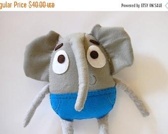 35% SALE Lee The Adventurous Elephant Plush / Eco Friendly Stuffed Toy