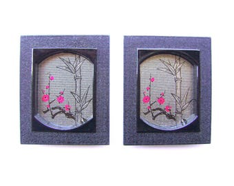 Vintage Japanese Door Pulls - Sliding Door Pulls - Pocket Door Pulls - Vintage Door Pulls - Plum Blossoms Bamboo Silver Black (A37) Set of 2
