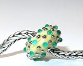 Luccicare Lampwork Bead - Green Drops -  Lined with Sterling Silver