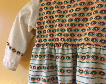 Vtg 1970s Rainbow Longleeve Southwest Print Dress 2 Years