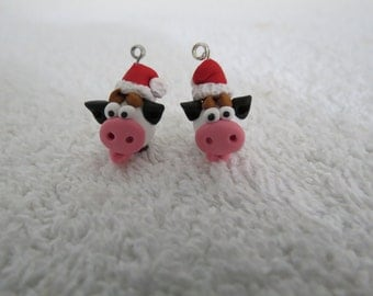 Black and White Cow in a Santa Hat Original Handmade Cute Christmas Pig Earrings 1 pr by Shannon Ivins