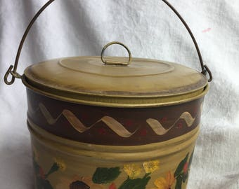 Vintage Metal Round Lunch Pail Hand Painred Gold Floral Ecs
