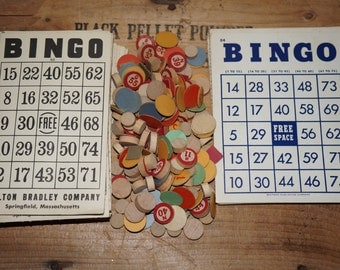 vintage antique  game pieces paper bingo game  cards Transogram