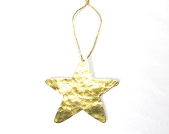 Christmas Tree Star Ornament, Gold Star Ornament, Hand Made Tree Ornament, Holiday Ornament, Festive Ornament,