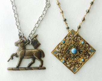 1or2 pc Lot! antique necklaces. Fancy vintage DECO Filigree markasite Lamb of God. Haute Mixed metals  ooak handmade old jewelry a13