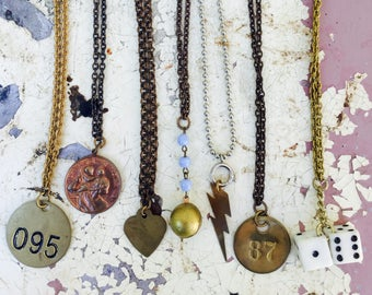 Vintage Necklace lot- 7 pc Destash!  saint christopher, dice, number tag, locket lighting haute jewelry high fashion mix bronze silver zz