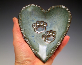 Cat Pottery, Blue Heart Dish with Paw Print, Dog Lover Gift, Pet Sitter Gift, Cat Lover Gift, Ceramic Heart Plate