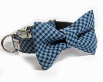 Blue Plaid Bow Tie Collar, Personalized Bow Tie Collar option, Bias Mini Blue Plaid