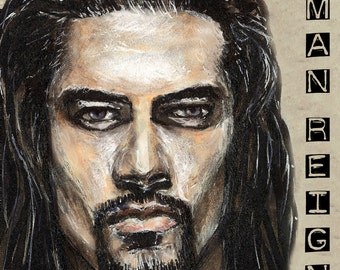 Roman Reigns Copic Marker Drawing Art Print WWE Wrestling 11.7 x 16.5 inches Version 2 2017 The Shield