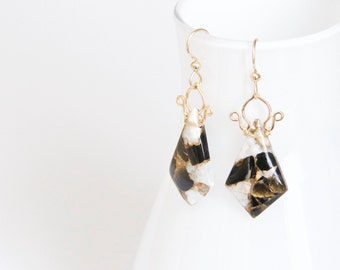 Celine - Copper Calcite and Obsidian and 14k Gold Filled Earrings