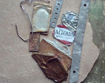 Rusted Oxidized Textured Metal PIeces Altoid Tin Found Objects, Industrial Salvage, Sculpture Altered Art Supplies