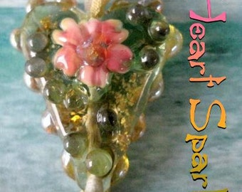 Heart Spark Lampwork Bead with Glitter Sparkling Pendant Necklace Helens Harvest