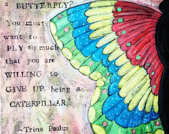 Becoming a Butterfly,  Wood Mounted Print, Ornaments, Coasters,